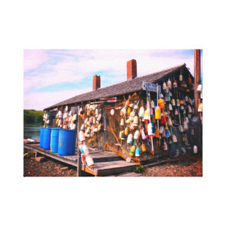 classic maine lobster buoy attached to building canvas print