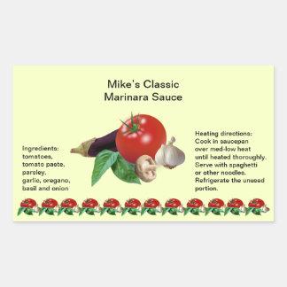 Classic Marinara Sauce Rectangle Jar Labels