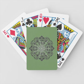 Classic medallion crest on green bicycle playing cards
