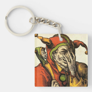 Classic medieval Joker, Jester or Fool. Vintage. Keychain
