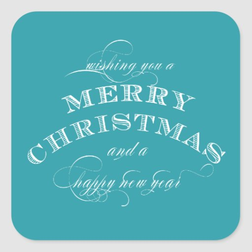 CLASSIC MERRY CHRISTMAS BLUE STICKER
