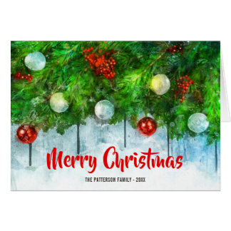 Classic Merry Christmas with Traditional Pine Tree Card
