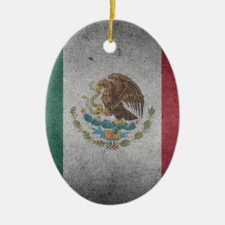 Classic Mexican Flag Ceramic Oval Ornament
