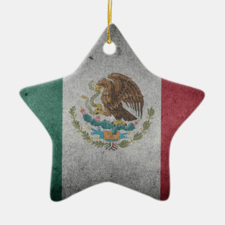 Classic Mexican Flag Ceramic Star Ornament