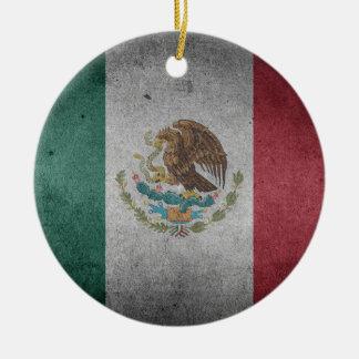 Classic Mexican Flag Round Ceramic Ornament