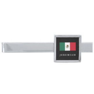 Classic Mexican Flag Silver Finish Tie Bar
