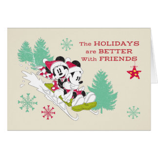Classic Mickey and Minnie | Snow Sledding Card