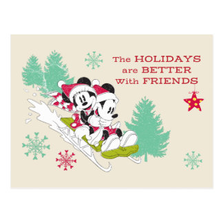 Classic Mickey and Minnie | Snow Sledding Postcard