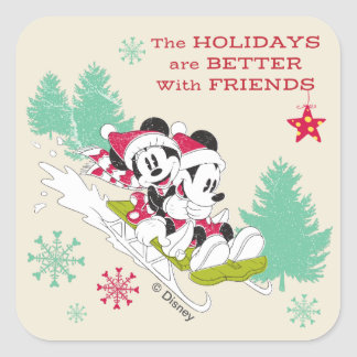 Classic Mickey and Minnie | Snow Sledding Square Sticker