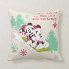 Classic Mickey and Minnie | Snow Sledding Throw Pillow