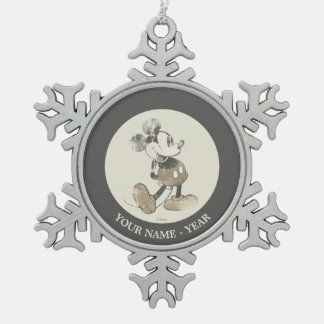 Classic Mickey | Distressed Add Your Name Snowflake Pewter Christmas Ornament