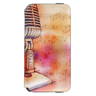 Classic Microphone, watercolor background Incipio Watson™ iPhone 6 Wallet Case