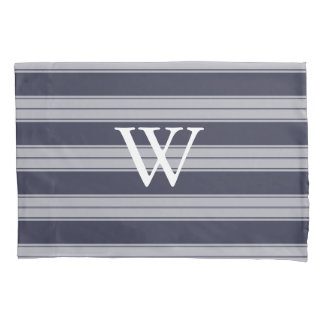 Classic Midnight Gray & Gray Stripes White Initial Pillowcase