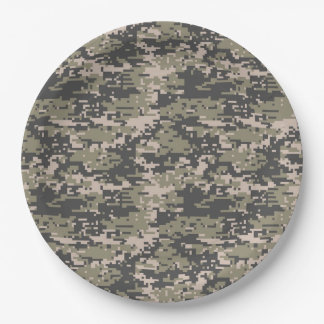 Classic Military Digital Camo Pattern Paper Plate