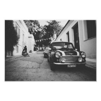 Classic Mini Cooper Car Black & White picture Poster
