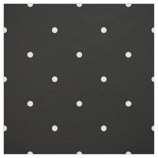Classic Mini Vanilla & Black Polka Dots Pattern Fabric
