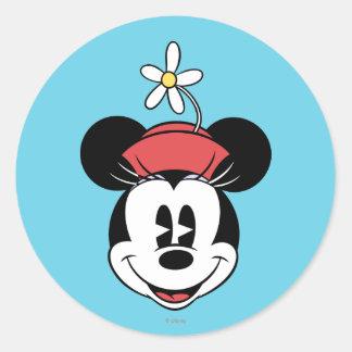 Classic Minnie   Flower Face Classic Round Sticker