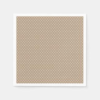 Classic Mocha Brown and White Polka Dot Napkins Paper Napkins
