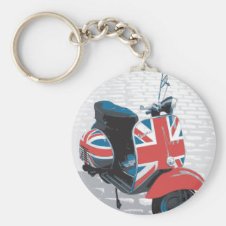 Classic Mod Scooter Basic Round Button Keychain