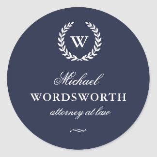 Classic Monogram Elegant Blue Business Sticker