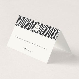 Classic Monogram Geometric Greek Key Wedding Place Card