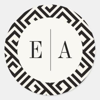 Classic Monogram Geometric Modern Wedding Stickers