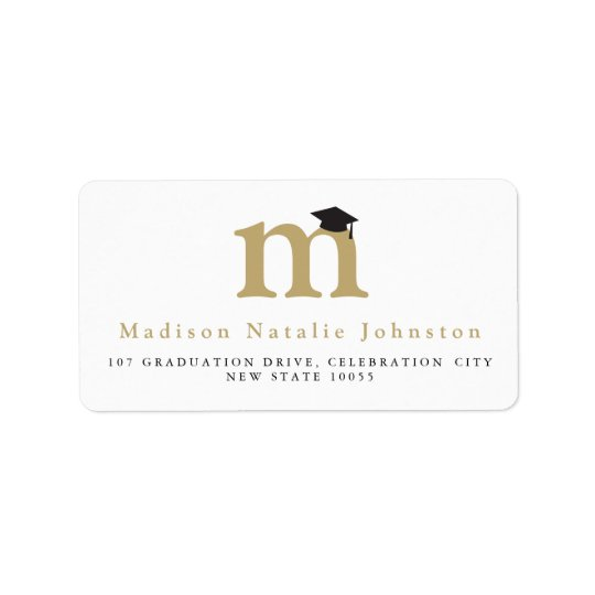 Classic Monogram Grad Graduation Address Labels