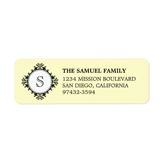 Classic monogram letter cream return address return address label