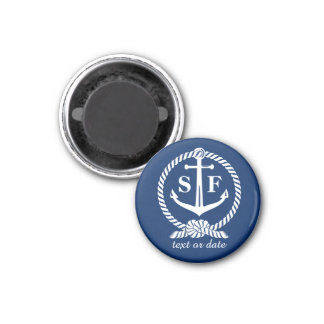 Classic Monogram Nautical Blue Anchor Beach Boat 1 Inch Round Magnet