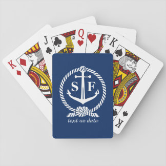 Classic Monogram Nautical Blue Anchor Beach Boat Playing Cards