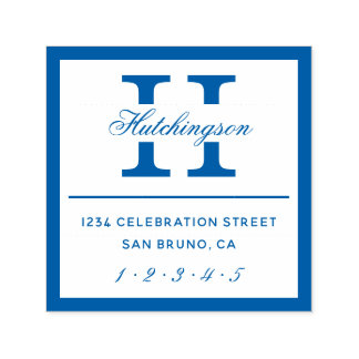 Classic Monogram Typography | Blue Return Address Self-inking Stamp