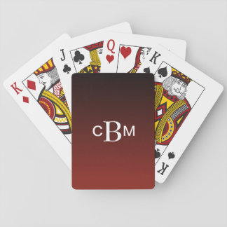 Classic Monogrammed Deep Red Gradient Playing Cards