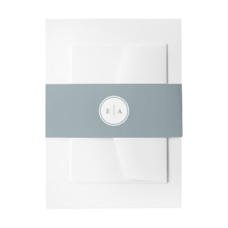 Classic Monograms Silver Belly Band Invitation Belly Band