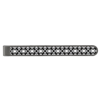 Classic Moorish Black White Gray Tile Pattern Gunmetal Finish Tie Bar