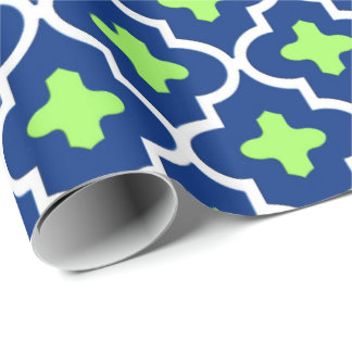 Classic Moroccan Tile, Cobalt Blue and Lime