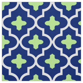 Classic Moroccan Tile, Cobalt Blue and Lime Fabric