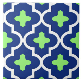 Classic Moroccan Tile, Cobalt Blue and Lime Tiles