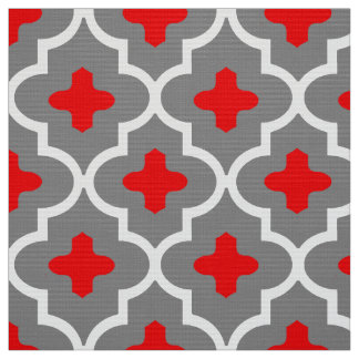 Classic Moroccan Tile, Gray / Grey and Red Fabric