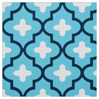 Classic Moroccan Tile, Indigo and Sky Blue Fabric