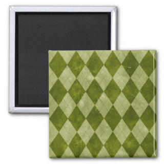 Classic Mossy Green Argyle Geometric Pattern Square Magnet