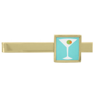 Classic Movie Martini Tie Bar (turquoise) Gold Finish Tie Clip