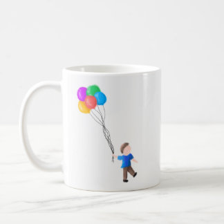 Classic Mug Drawing of a Boy with Balloons