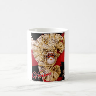 Classic mug featuring a golden Venetian mask