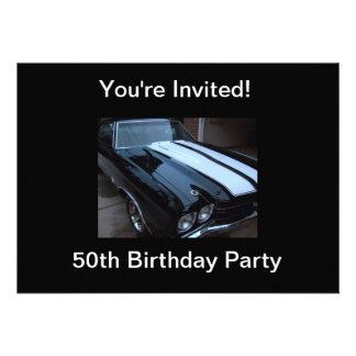 Classic Muscle Car - Blank Back Custom Invitation