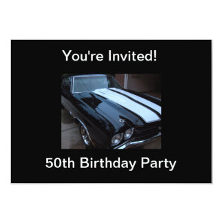 "Classic Muscle Car - Blank Back 5"" X 7"" Invitation Card"