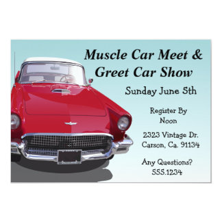 """Classic Muscle Car Party 5"""" X 7"""" Invitation Card"""