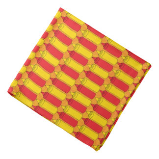 Classic Mustard and Ketchup Condiment Bottles Bandana