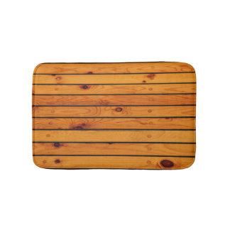 Classic nautical brown wooden shipdeck bath mat