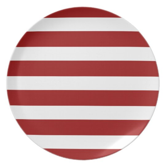 Classic Nautical Red and White Stripe Personalize Plate