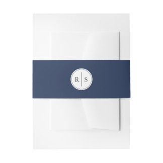 Classic Navy and White Monogram Wedding Invitation Belly Band
